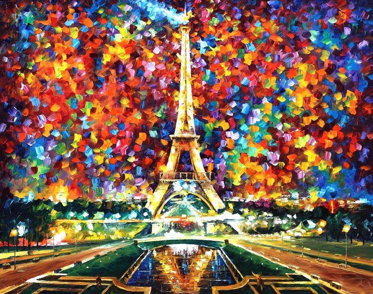Paris de mis Sueños por Leonid Afremov Cuando miramos una obra de Leonid Afremov (1955-), es como si el mundo entero estallará en un canto de alegría y en una explosión de colores. Su estilo es inmediatamente reconocible, tanto en el uso de su espátula y su paleta de colores, como en su tratamiento de sujetos. Las pinturas de Afremov son neutrales, ventanas hacia un mundo mejor. El artista no impone su visión, más bien nos presenta un lente para apreciar las bellezas que nos rodean.