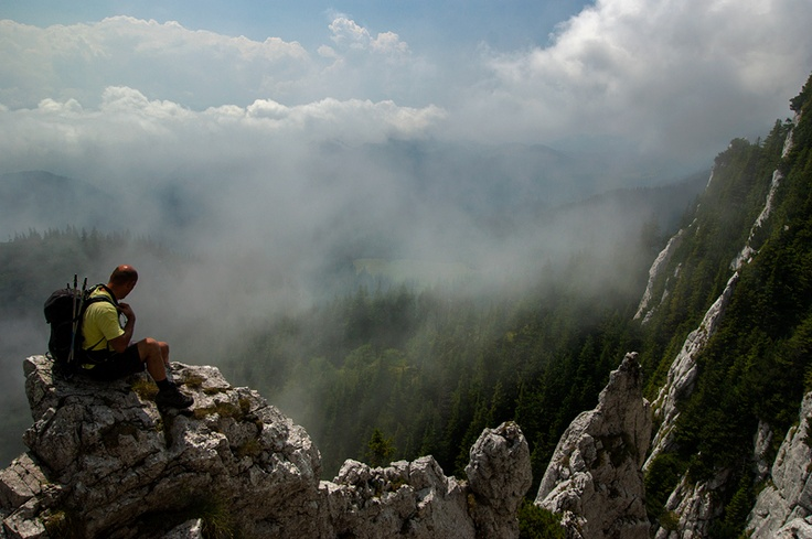 Walking on clouds. Piatra Craiului Mountains.