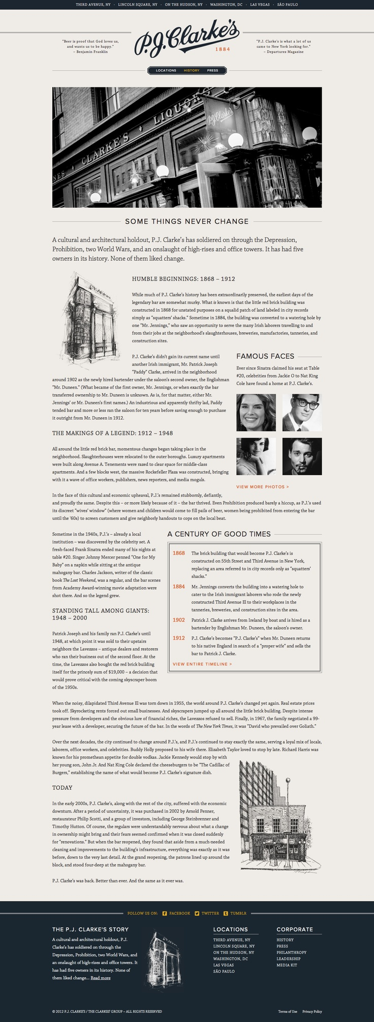 Unique Web Design, P.J. Clarke's #WebDesign #Design (http://www.pinterest.com/aldenchong/)
