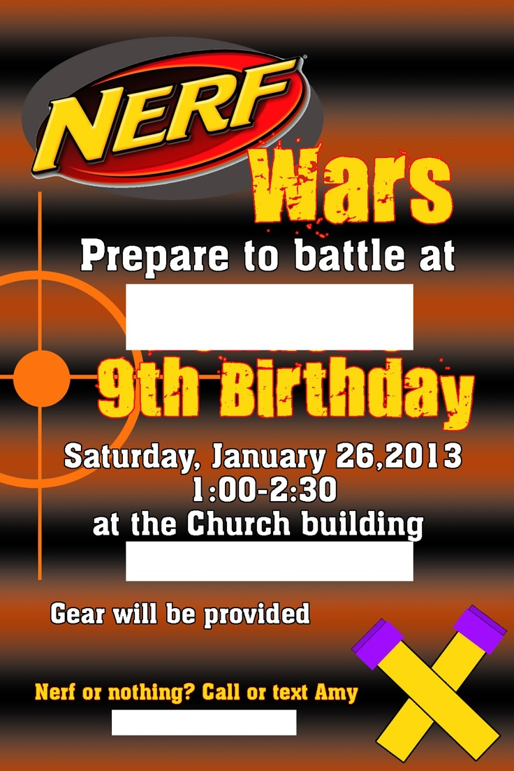 Nerf Party Invitations Template  budget template free