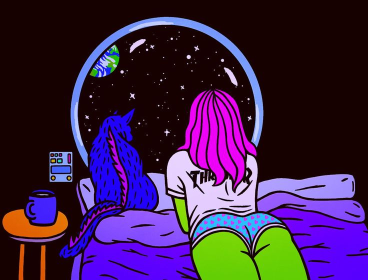 Neon Black Light Art - A Girl and her cat laying on the bed in dark bedroom at night watching stars moon galaxy by Robin Eisenberg