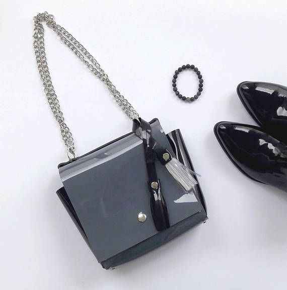 Minimal grey and black bag with chain and genuine leather
