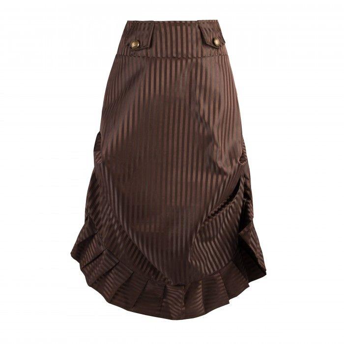 Stripy Dark Brown Steampunk Skirt with Miltary Style Tabs