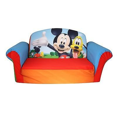 Kids Flip Open Foam Sofa Bed 2in1 Mickey Mouse Furniture Children Lounger Couch