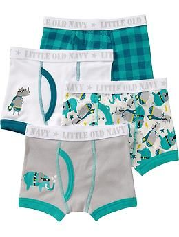 Boxer-Brief 4-Packs for Baby Size 4/5   We like all of the boxer brief patterns