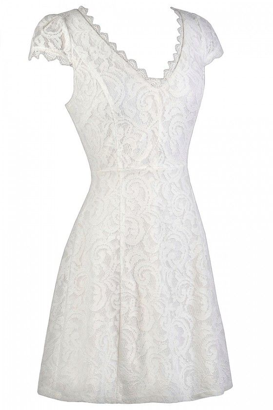 Off White Capsleeve Lace Dress, Off White Lace A-Line Dress, Off White Lace Rehearsal Dinner Dress, Off White Lace Bridal Shower Dress, Off White Summer Dress, Off White Lace Party Dress