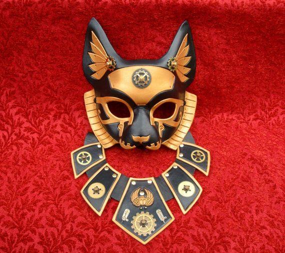 Imperial Industrial Bast V5... original mixed media handmade steampunk egyptian cat goddess mask $200.00