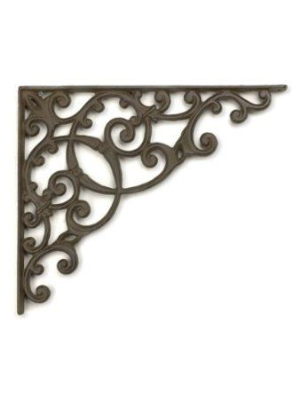 "Amazon.com : 13"" Large Metal-Cast Iron Large Scroll Wall Shelf Bracket Dark Brown : Outdoor Plant Shelves : Patio, Lawn & Garden"