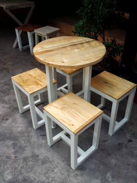 #mejacafe Meja Cafe Jatibelanda Custom Bulat Dia 60 Top Table solidwood jatibelanda Rangka Besi finishing dacro coating Harga belum termasuk kursi