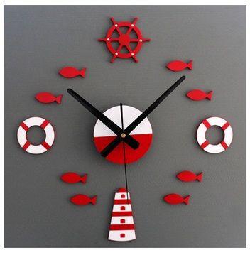 Mediterranean style DIY tower rudder life buoy small fish bell DIY clock wall clock mute