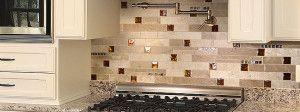 beige cabinet granite countertop travertine backsplash