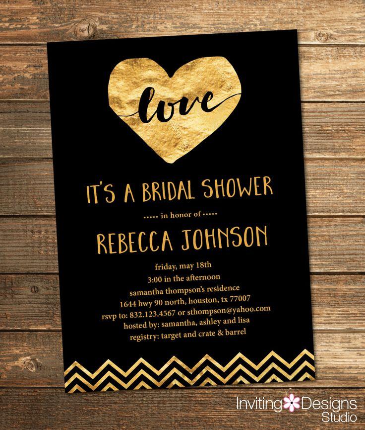 339 best bridal shower invitations images on pinterest wedding gold and black bridal shower invitation gold foil love chevron heart filmwisefo