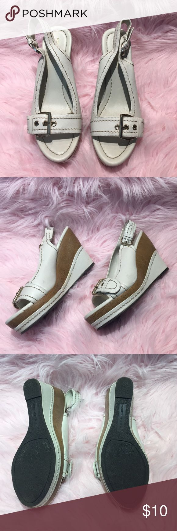 😍 Ladies wedge sandals 😍 Ladies wedge sandals. In fair condition. See pics for details. Priced low to sell!! Off-white / cream color , brown / tan wedge heels . Size 8 Montego Bay Shoes Wedges