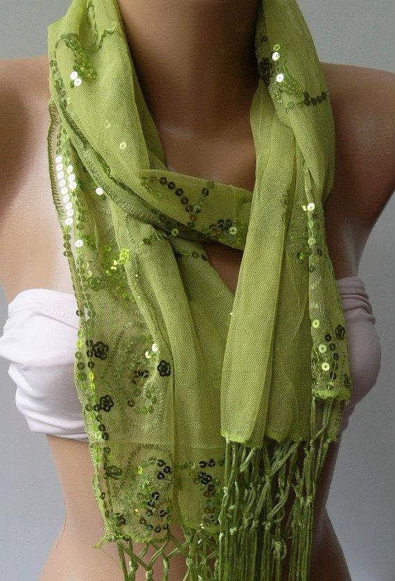 Green  Elegance Shawl / Scarf with Lace Edge by womann on Etsy, $19.90