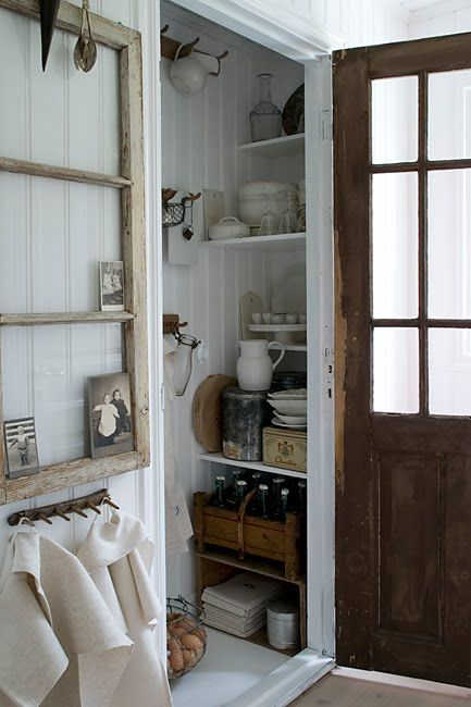 Pantry/could use one side of a closet for rod for coats, shelves (like this) for misc. items. and hooks on back wall for coats again.