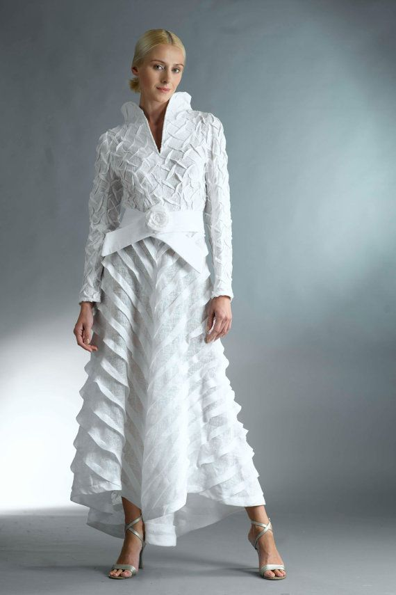 Haute Couture Dress / All White Dress with Sleeves /  Cocktail Dress / Long White Dress for Women / White Semi Formal Dress / Wedding Dresss