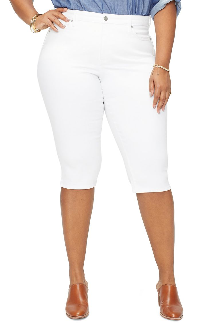 Plus Size Women's Nydj Cool Embrace Skinny Capri Jeans, Size 14W - White 1