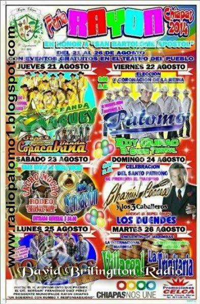 Grupo Palomo Hoy 22 Agosto en la FERIA RAYON CHIAPAS 2014 ~ Radio Palomo