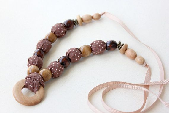 Brown Chocolate Necklace with White Polka Dot / by LovekaHandmade, $19.00