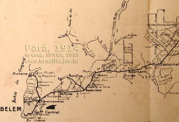 Mapa ampliado do trecho de Belém a Castanhal e Ramal de Pinheiro, da Estrada de Ferro de Bragança