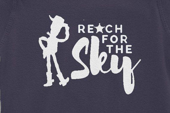 Vinyl Disney World Toy Story Woody Reach fo the Sky Iron On:  DIY Disneyland Family Shirts or Disney Onsies Transfer