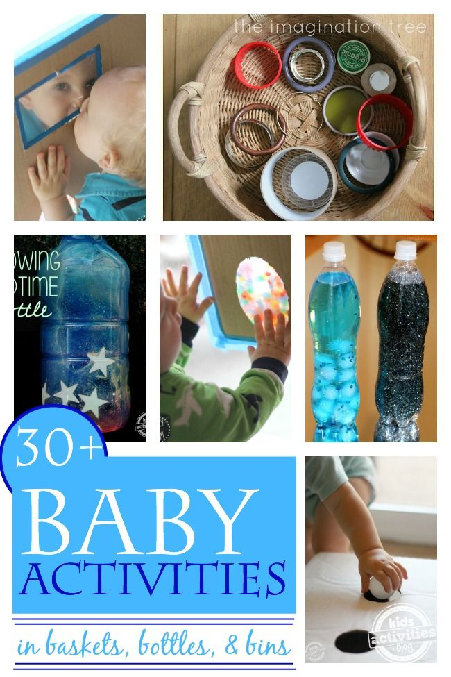 One year old activities that are in baskets, bottles, and bins. They're such easy ways to keep babies busy and learning, too!