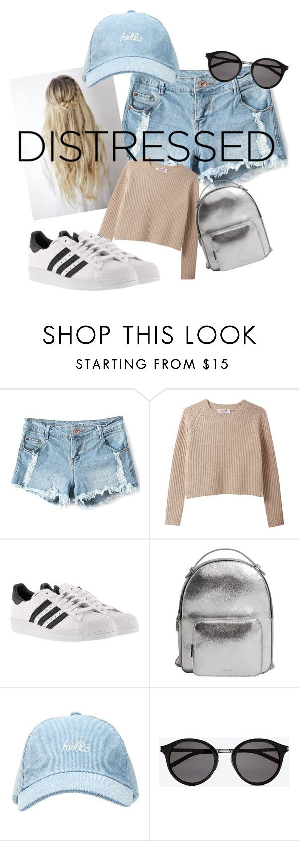 """""""Distressed jean shorts💗"""" by skyenv ❤ liked on Polyvore featuring adidas, MANGO and Yves Saint Laurent"""