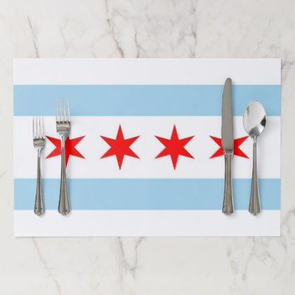 Tearaway placemat with Flag of Chicago City USA - stylish gifts unique cool diy customize