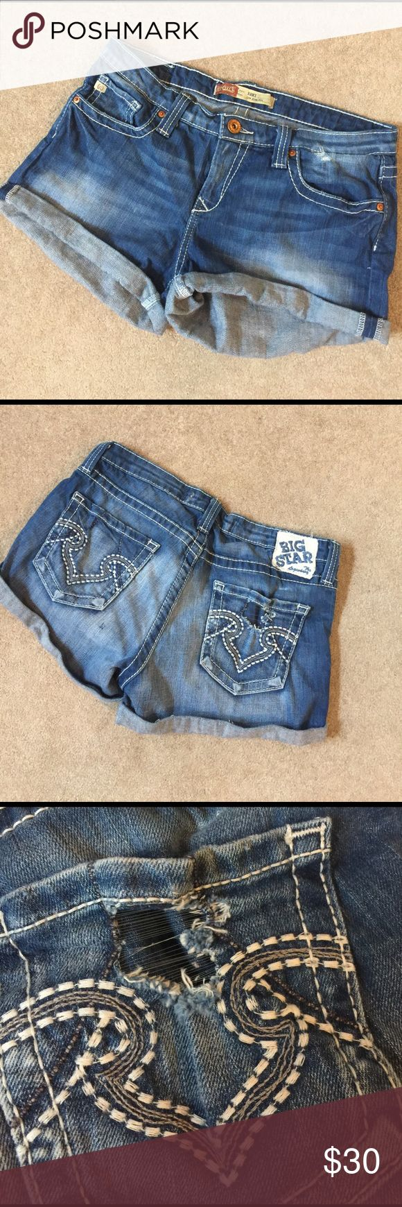 Big Star Remi Jean shorts Homemade jean shorts. Fried out pocket on the back shown in picture. Lowrise fit.  AO Big Star Shorts Jean Shorts