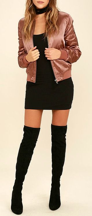 From New York to L.A. your city chic style will be on point in the Run this City Rusty Rose Satin Bomber Jacket! Ultra smooth satin fabric creates this classic puffer bomber with ribbed knit at the collar and cuffs. Front gunmetal zipper closure and matching arm pocket. Two front welted pockets. #lovelulus