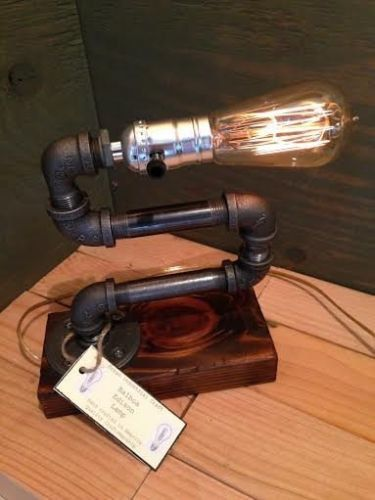 Edison lamp - Table Desk lamp - Gorgeously antiqued finished wood base - Steam punk style light - New york loft industrial style $44