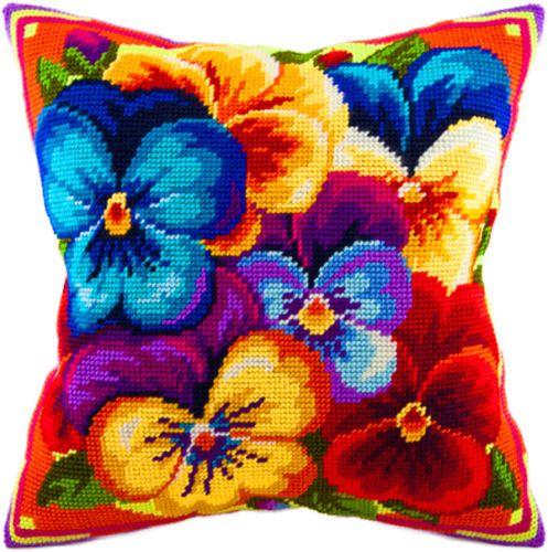 Violets pillowcase cross stitch DIY embroidery kit