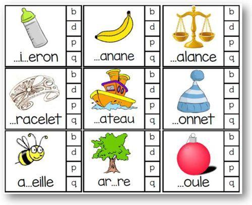 #Atelier autonome : choisir entre les lettres P Q B D 54 cartes. #Logopédie #saloneduc