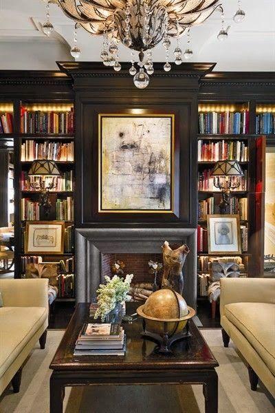 Love the dark colored bookshelves! http://clunygrey.blogspot.com #bookshelves #library