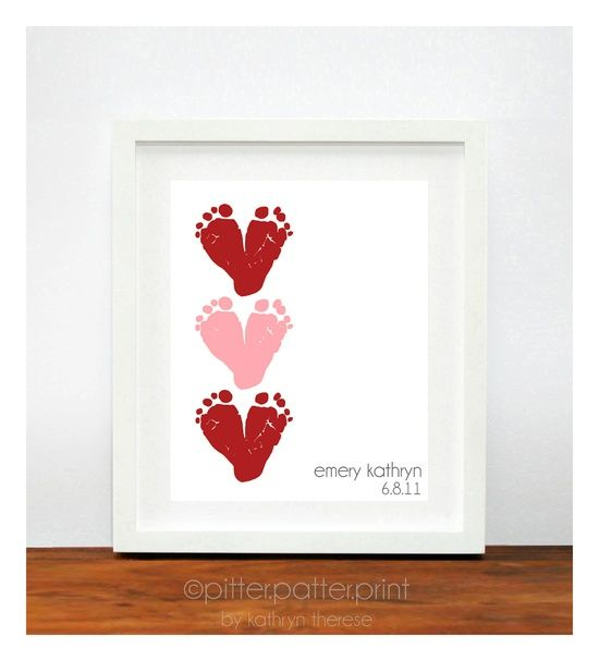 Cute V-Day gift idea for grandma with a picture on the side. Red & Pink Heart Valentines Day Gift for New Dad - Baby Footprint Hearts Valentine Decor, Decoration - New Grandma Personalized Gift. $35.00, via