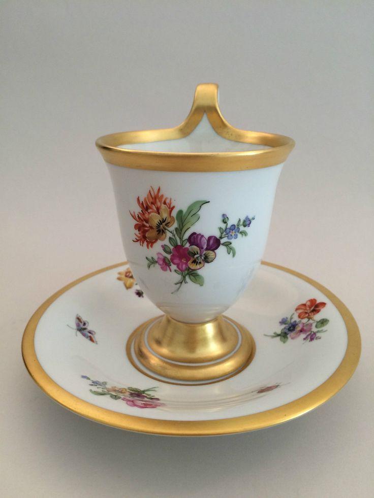 KPM BERLIN Schokoladen-Tasse Blumen & Insekten Zeptermarke Kakao-Becher Gold | eBay