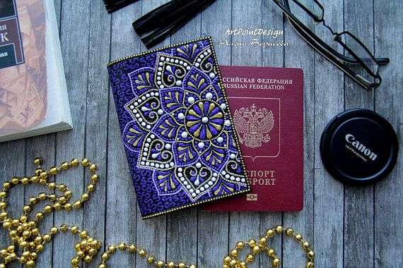 READY TO SHIP / Passport cover Leather accessory purple and