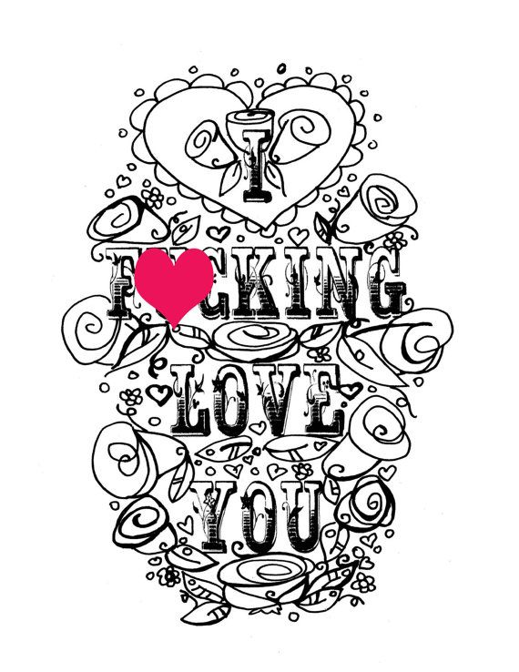 adult coloring page valentines day curse swear sheet i fcking love you anniversary funny i love you diy sweary love printable