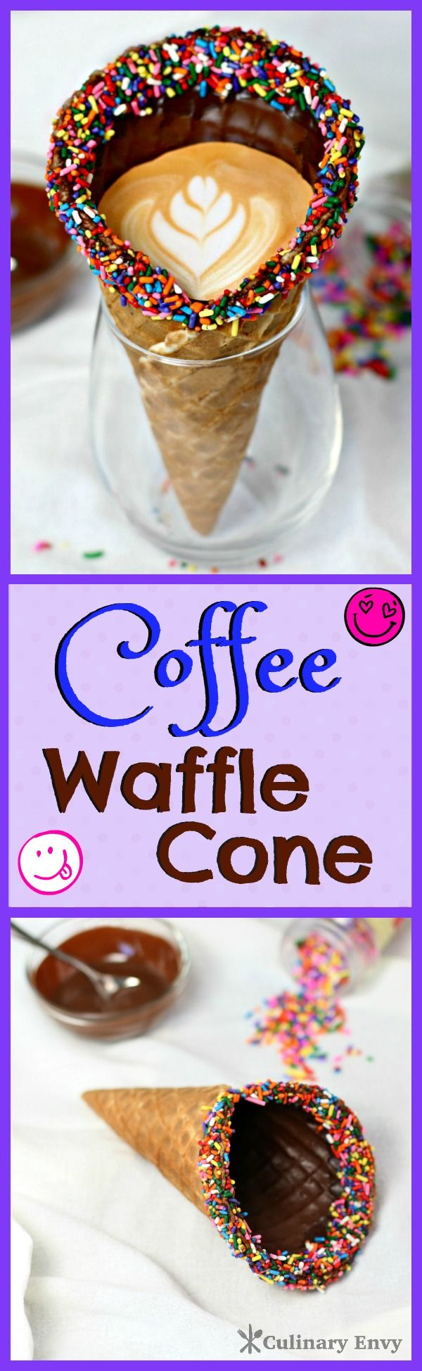 This Coffee Waffle Cone combines an espresso drink and a chocolate covered waffle cone into a fun dessert that the whole family will love!  Fill it with chocolate milk for the kids.  What a fun way to eat and drink dessert at the same time!  Click to read now or pin & save for later!