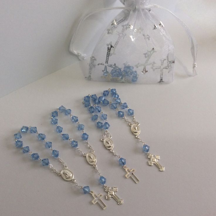 24 Mini rosaries- boys Baptism favors - first communion mini rosaries- baptism favors-Christening Baptism boy favors by Nandospartysupply on Etsy https://www.etsy.com/listing/213710869/24-mini-rosaries-boys-baptism-favors