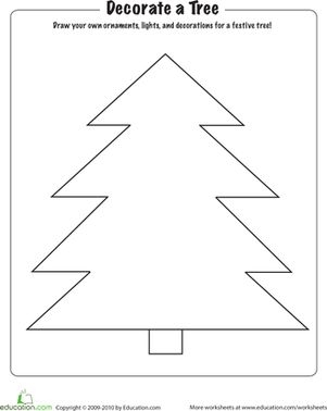 Christmas Kindergarten Holiday Worksheets: Christmas Coloring: Decorate a Tree