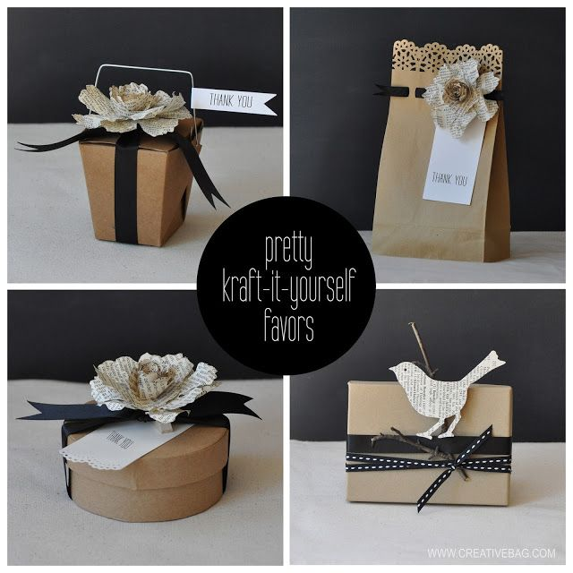 kraft favor packaging ideas with book page elements and black ribbon