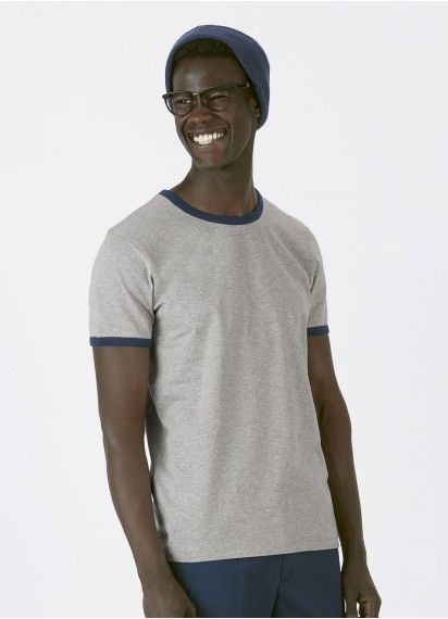 Miko men's ringer tee in Heather Grey with French Navy rib. This 100% organic cotton tee is fair trade and made in Bangladesh. #organiccottonclothing #fairtradeclothing