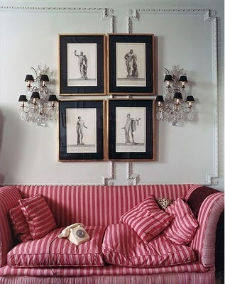 Manolo Blahniku0027s Georgian Home In Bath, England   Love The Sconces With The  Art And Striped Sofa