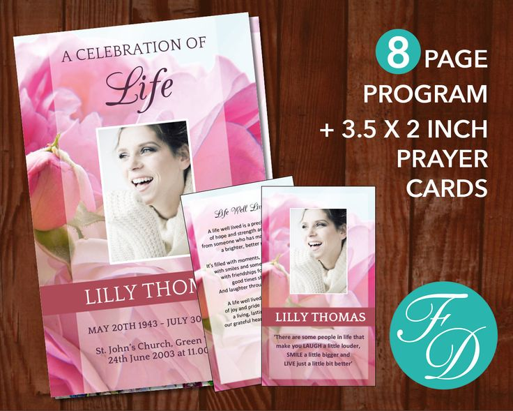 191 best 8 Page Funeral Program Templates images on Pinterest - celebration of life templates