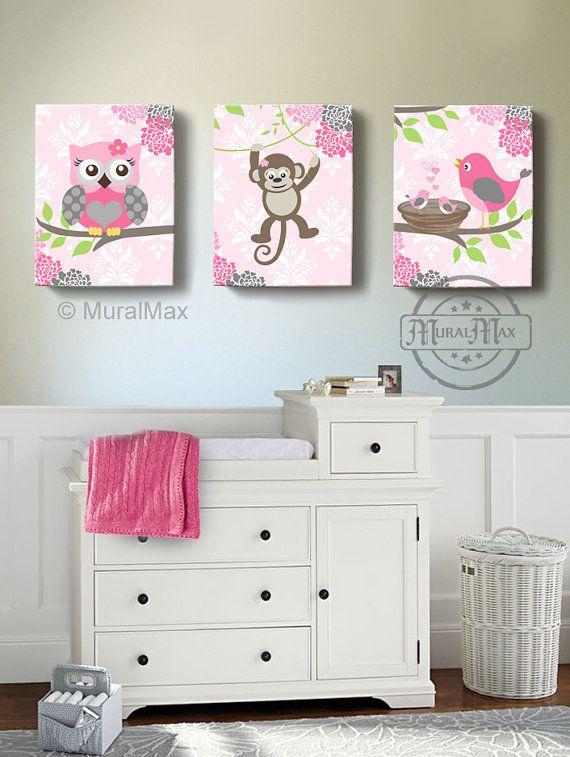 Búho bebé niña guardería Art Decó Owl Monkey pájaro por MuralMAX