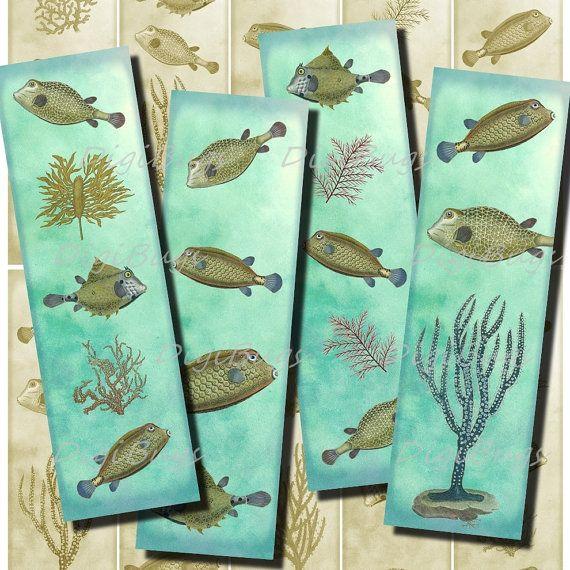 10 Printable Bookmarks, Sea Life, Vintage Fish Images