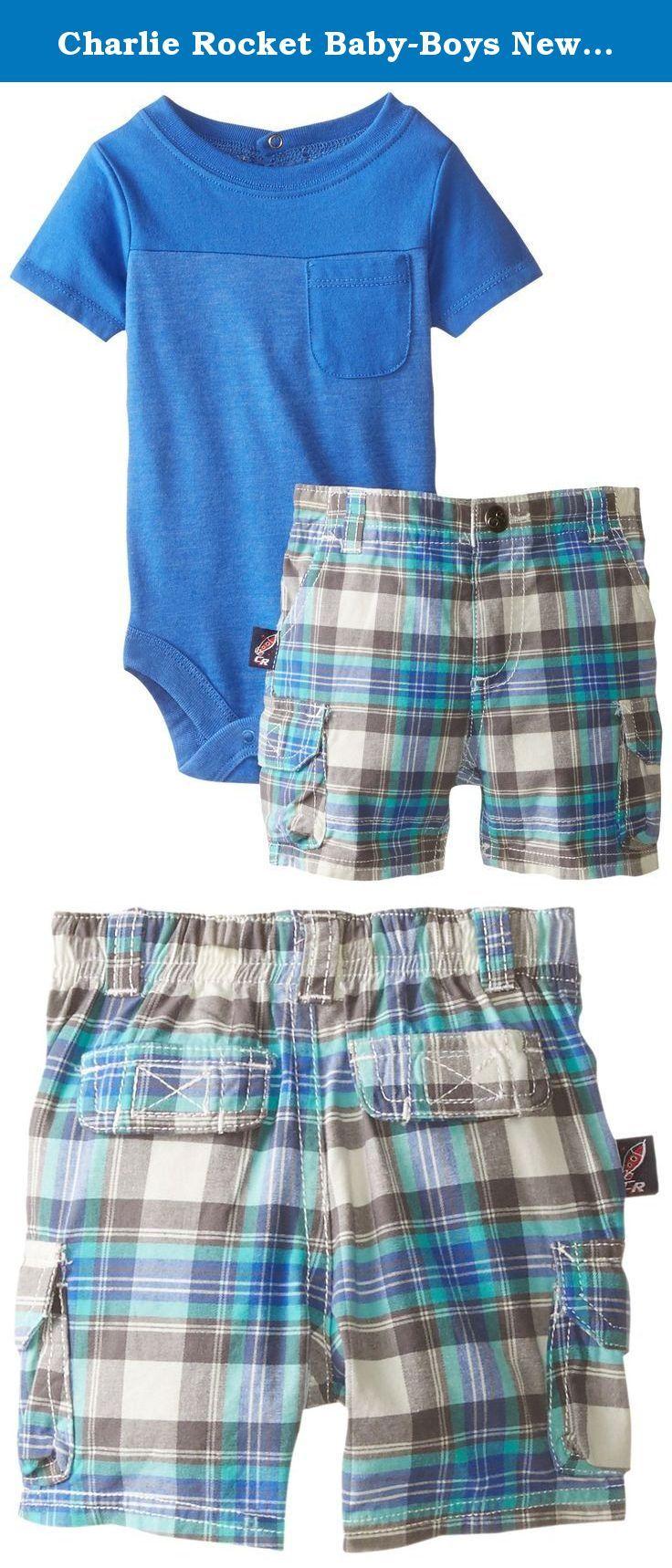 Charlie Rocket Baby-Boys Newborn Pocket Bodysuit with Plaid Cargo Short, Blue, 6 Months. Pocket bodysuit with plaid cargo short with elastic waist and functional pockets.