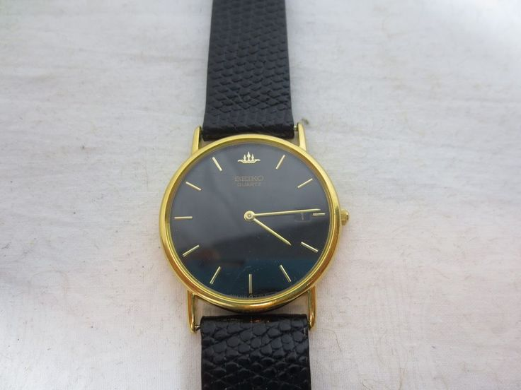 Vintage SEIKO GOLD TONE WATCH w Date w new ROYAL LIZARD Leather Band Japan 5Y39  #Seiko