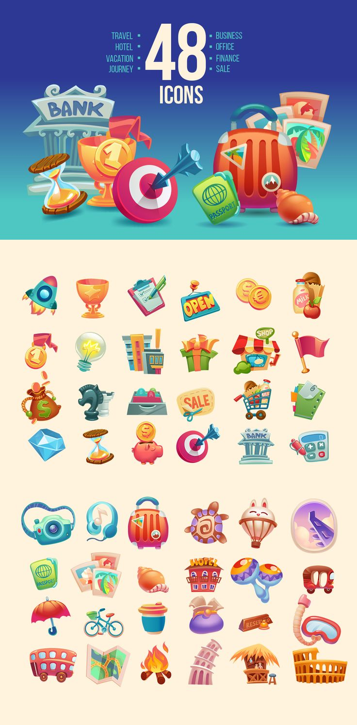 Collections color icons on Behance